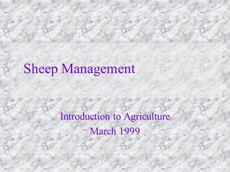 Sheep Management Introduction to Agriculture March 1999.