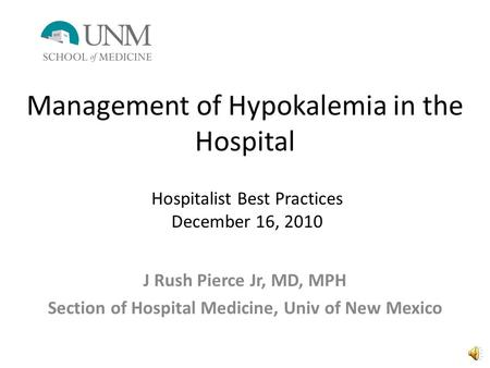 Management of Hypokalemia in the Hospital