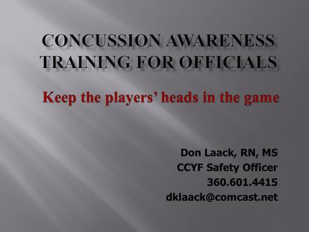 Concussion awareness Training for officials
