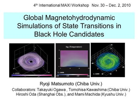 Global Magnetohydrodynamic Simulations of State Transitions in Black Hole Candidates Ryoji Matsumoto (Chiba Univ.) Collaborators: Takayuki Ogawa, Tomohisa.