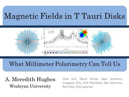 Magnetic Fields in T Tauri Disks A. Meredith Hughes Wesleyan University What Millimeter Polarimetry Can Tell Us Chat Hull, David Wilner, Sean Andrews,
