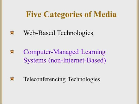 Web-Based Technologies Computer-Managed Learning Systems (non-Internet-Based) Teleconferencing Technologies Five Categories of Media.
