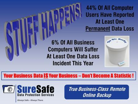 True Business-Class Remote Online Backup 44% Of All Computer Users Have Reported At Least One Permanent Data Loss Your Business Data IS Your Business –