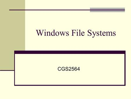 Windows File Systems CGS2564. Who Cares? C:\Documents\Taxes\Tax04.DOC.