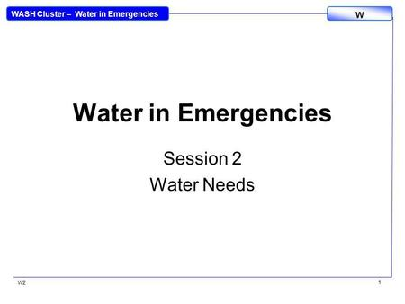 WASH Cluster – Water in Emergencies W W2 1 Water in Emergencies Session 2 Water Needs.