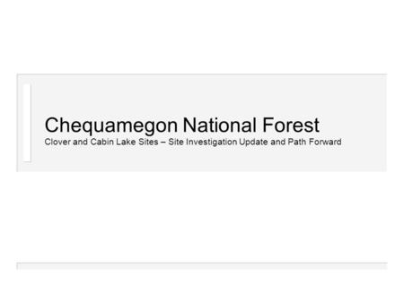 Chequamegon National Forest Clover and Cabin Lake Sites – Site Investigation Update and Path Forward.