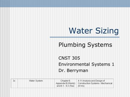 Plumbing Systems CNST 305 Environmental Systems 1 Dr. Berryman