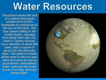 Water Resources This picture shows the size of a sphere that would contain all of Earth's freshwater in comparison to the size of the Earth. The blue sphere.