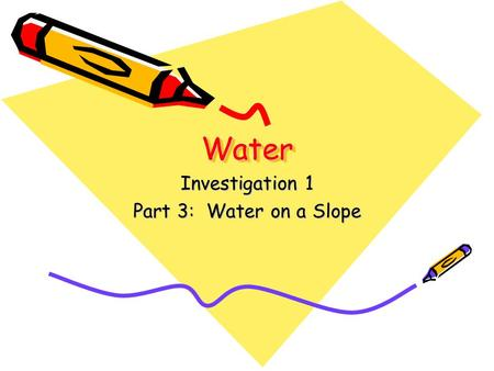 Investigation 1 Part 3: Water on a Slope