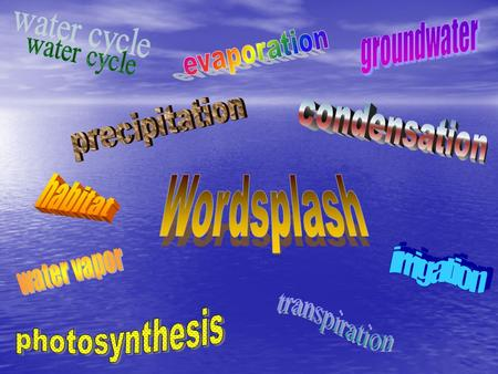 Wordsplash water cycle precipitation condensation habitat irrigation