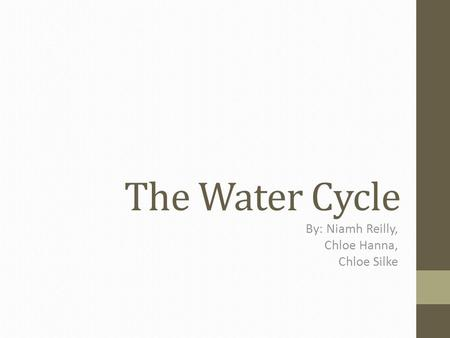 The Water Cycle By: Niamh Reilly, Chloe Hanna, Chloe Silke.