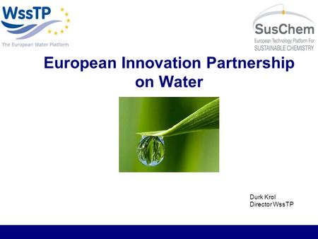European Innovation Partnership on Water Durk Krol Director WssTP.