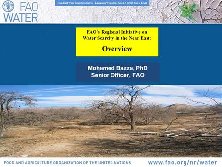 FAO's Regional Initiative on Water Scarcity in the Near East: