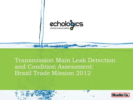 Transmission Main Leak Detection and Condition Assessment: Brazil Trade Mission 2012.