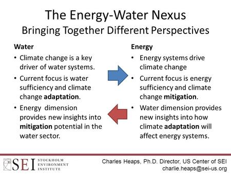 The Energy-Water Nexus Bringing Together Different Perspectives Water Climate change is a key driver of water systems. Current focus is water sufficiency.