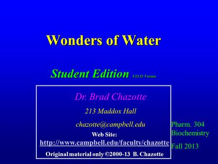 Wonders of Water Student Edition 5/23/13 Version