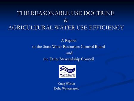 THE REASONABLE USE DOCTRINE & AGRICULTURAL WATER USE EFFICIENCY Craig Wilson Delta Watermaster A Report to the State Water Resources Control Board and.