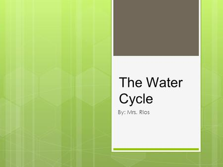 The Water Cycle By: Mrs. Rios. What are clouds? - A cloud is a collection of tiny water drops or ice crystals in the air. - - Precipitation falls from.