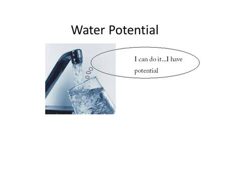 Water Potential. Water Potential: the measure of the relative tendency of water to move from one area to another, Ψ. – Affected by Osmosis Gravity Surface.