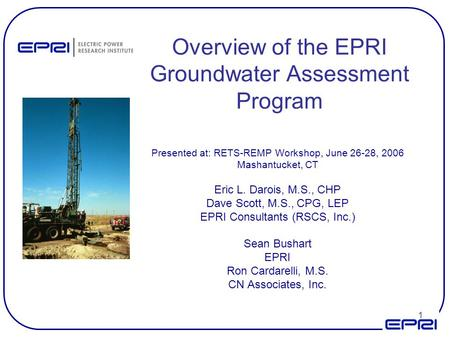 Overview of the EPRI Groundwater Assessment Program