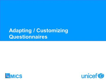 Adapting / Customizing Questionnaires. Customization No single model questionnaire can represent all human experience around the globe Customization will.