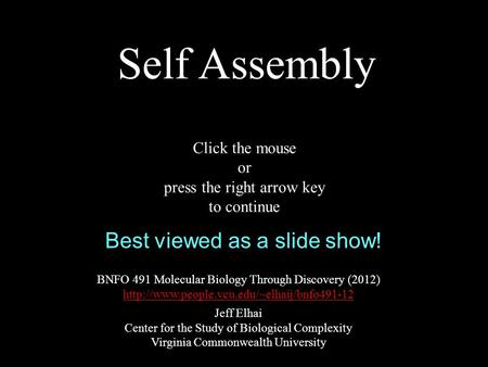 Self Assembly BNFO 491 Molecular Biology Through Discovery (2012)