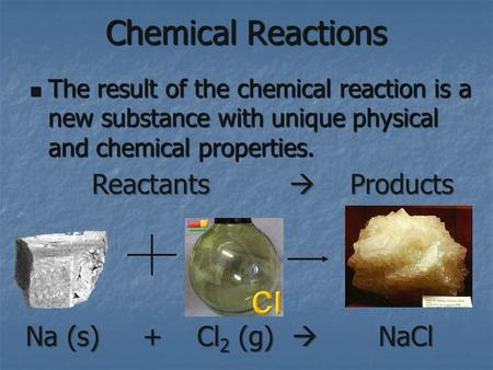 Chemical Reactions The result of the chemical reaction is a new substance with unique physical and chemical properties. The result of the chemical reaction.