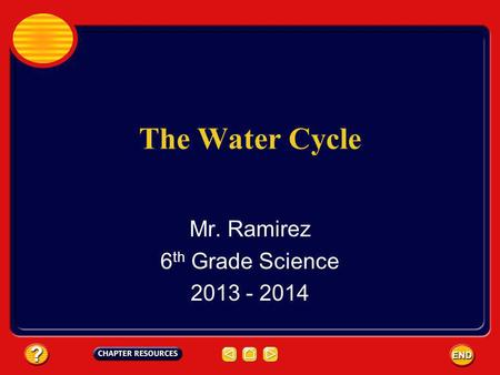 The Water Cycle Mr. Ramirez 6 th Grade Science 2013 - 2014.