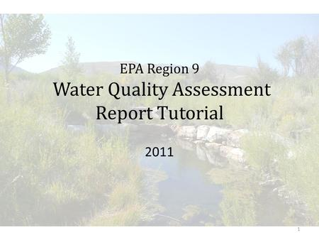 EPA Region 9 Water Quality Assessment Report Tutorial 2011 1.