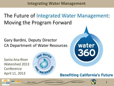 Integrating Water Management The Future of Integrated Water Management: Moving the Program Forward Gary Bardini, Deputy Director CA Department of Water.