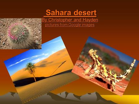 Sahara desert By Christopher and Hayden pictures from Google images Sahara desert By Christopher and Hayden pictures from Google images.