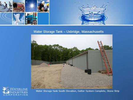 Water Storage Tank South Elevation, Gutter System Complete, Stone Strip Water Storage Tank – Uxbridge, Massachusetts.