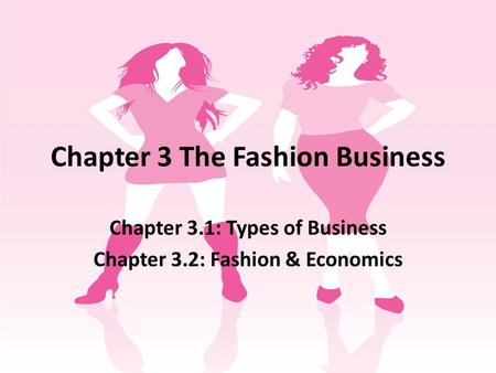 Chapter 3 The Fashion Business Chapter 3.1: Types of Business Chapter 3.2: Fashion & Economics.