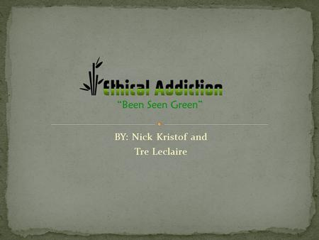 BY: Nick Kristof and Tre Leclaire. Ethical Addiction is a Eco-friendly clothing company that aspires to both make the world cleaner, while keeping up.