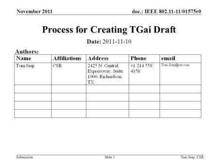 Doc.: IEEE 802.11-11/01575r0 Submission November 2011 Tom Siep, CSRSlide 1 Process for Creating TGai Draft Date: 2011-11-10 Authors: