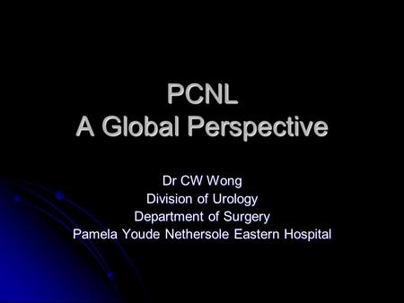 PCNL A Global Perspective Dr CW Wong Division of Urology Department of Surgery Pamela Youde Nethersole Eastern Hospital.