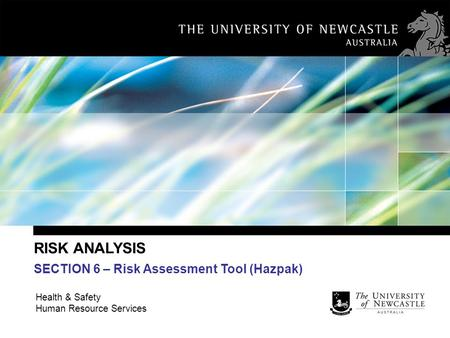 RISK ANALYSIS SECTION 6 – Risk Assessment Tool (Hazpak)