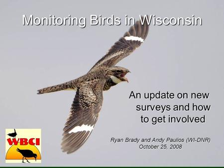 Monitoring Birds in Wisconsin An update on new surveys and how to get involved Ryan Brady and Andy Paulios (WI-DNR) October 25, 2008.