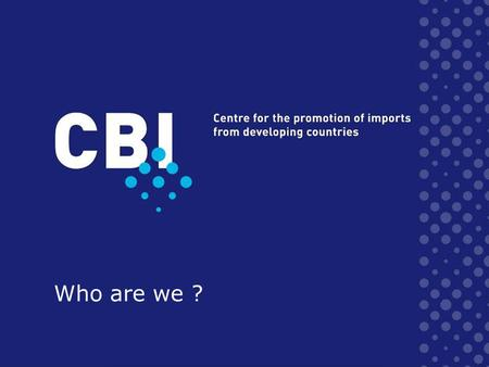 Who are we ?. Questions 1.What is CBIs mission ? 2.What type of organization ? 3.Which are CBIs target groups ? 4.Which services provides CBI ? 5.Who.