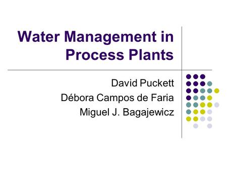 Water Management in Process Plants