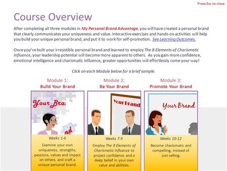 Course Overview After completing all three modules in My Personal Brand Advantage, you will have created a personal brand that clearly communicates your.
