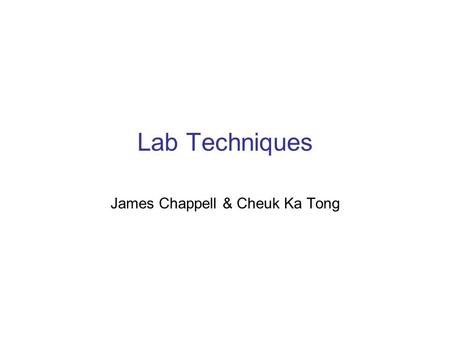 Lab Techniques James Chappell & Cheuk Ka Tong. Contents Page 1.Restriction Enzymes 2.Gel Electrophoresis 3.Blotting techniques-Southern, Northern and.