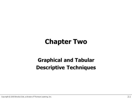 Copyright © 2005 Brooks/Cole, a division of Thomson Learning, Inc. 2.1 Chapter Two Graphical and Tabular Descriptive Techniques.