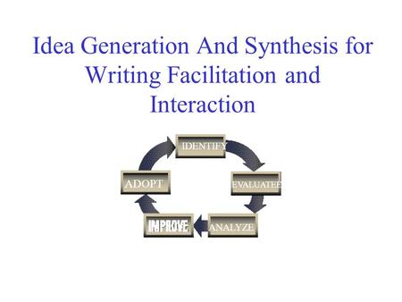 Idea Generation And Synthesis for Writing Facilitation and Interaction IDENTIFY EVALUATEE ANALYZE ADOPT.