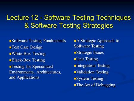 Lecture 12 - Software Testing Techniques & Software Testing Strategies