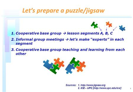 1 1.Cooperative base group lesson segments A, B, C 2.Informal group meetings lets make experts in each segment 3.Cooperative base group teaching and learning.