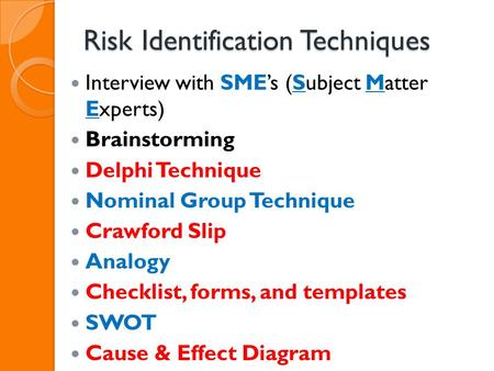 Risk Identification Techniques