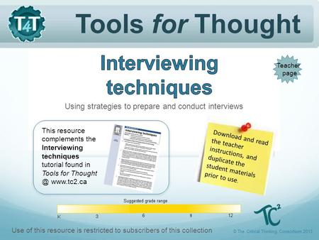 Tools for Thought Download and read the teacher instructions, and duplicate the student materials prior to use. Using strategies to prepare and conduct.