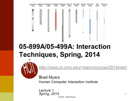1 05-899A/05-499A: Interaction Techniques, Spring, 2014  Brad Myers Human Computer Interaction Institute.