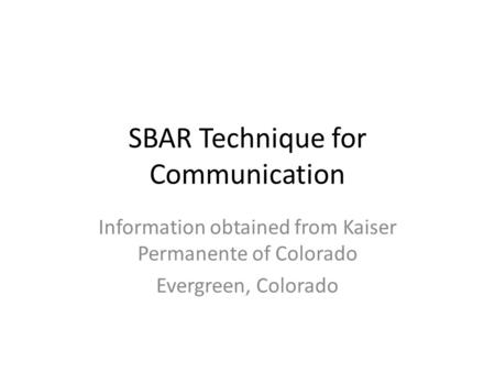 SBAR Technique for Communication